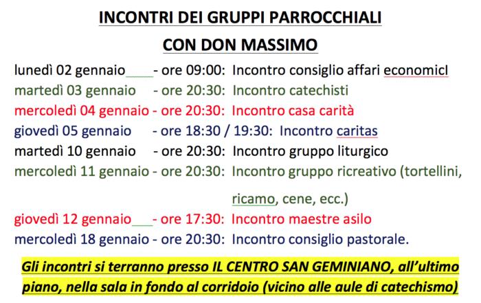 Incontri gruppi con don Massimo