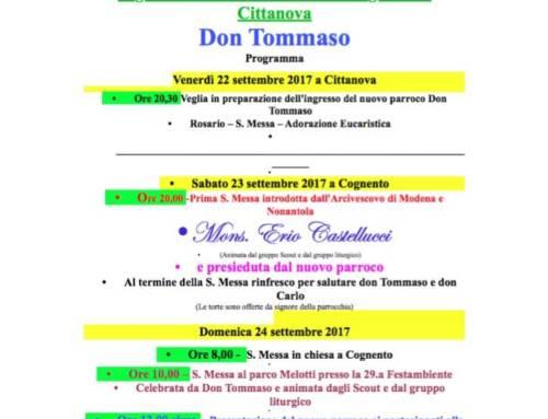Programma celebrazioni per l'ingresso di Don Tommaso Fraczek