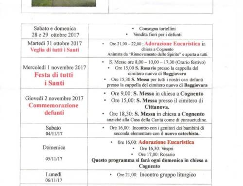 Avvisi settimanali dal 29 Ottobre al 8 Novembre 2017