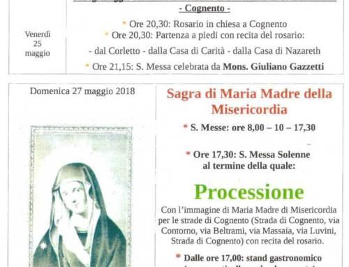 Avvisi parrocchiali dal 21 Maggio a domenica 3 Giugno 2018