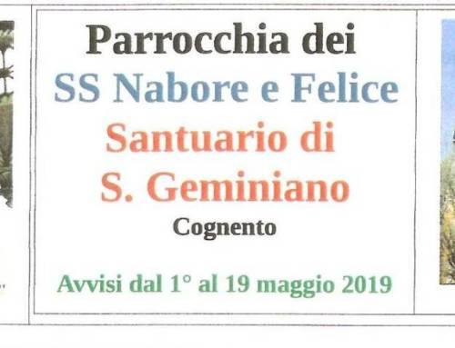 Avvisi parrocchiali da 1 al 19 Maggio 2019